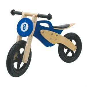 JAMARA Laufrad Holz Moto blau 460232