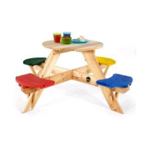 Plum® Kinder Picknicktisch rund mit farbigen Sitzen 02017