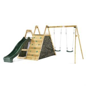 Plum® Holz Kletter Pyramide mit Doppelschaukel und Rutsche 27505