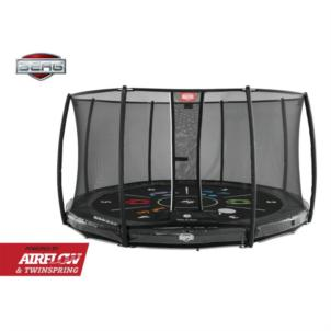 BERG Bodentrampolin Elite InGround 430 Grey Levels + Sicherheitsnetz Deluxe 37.94.13.01